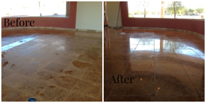 cleaning travertine tile